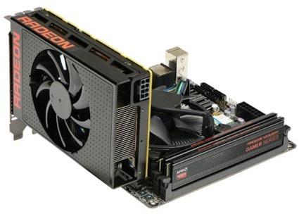 Amd Radeon R9 mini Fury montada en placa