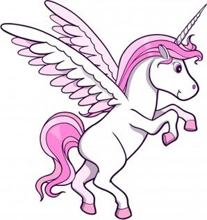 Unicornio rosa con alas