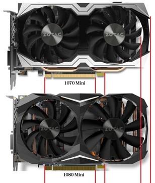 Zotac nvidia gtx 1080 mini tamaño comparada 1070